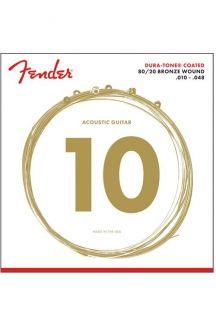 FENDER 80/20 DURA-TONE COATED ACOUSTIC GUITAR STRINGS 010