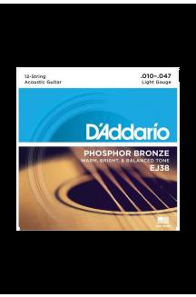 D'ADDARIO EJ38 CORDIERA PER CHITARRA ACUSTICA 0.10/0.47 12 CORDE PHOPSHOR BRONZE
